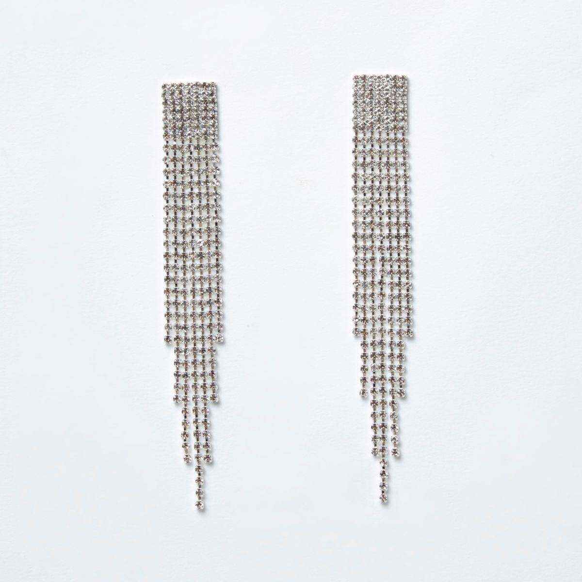 Silver tone rhinestone pave drop earrings