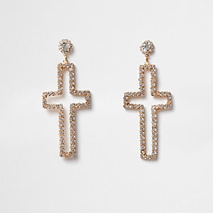 Gold tone diamante cross stud drop earrings