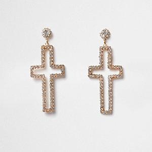 Gold tone diamante cross stud drop earrings