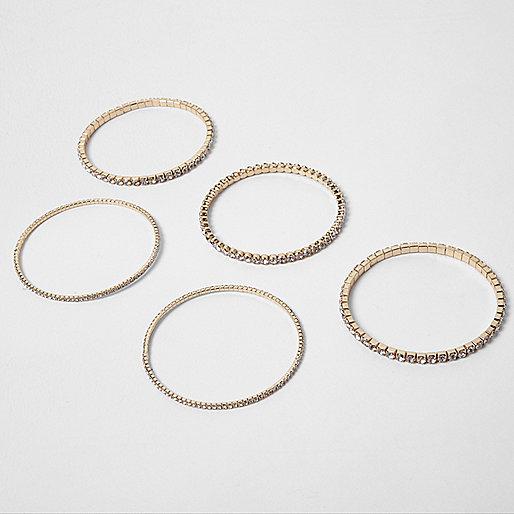 Gold tone rhinestone encrusted bracelet pack