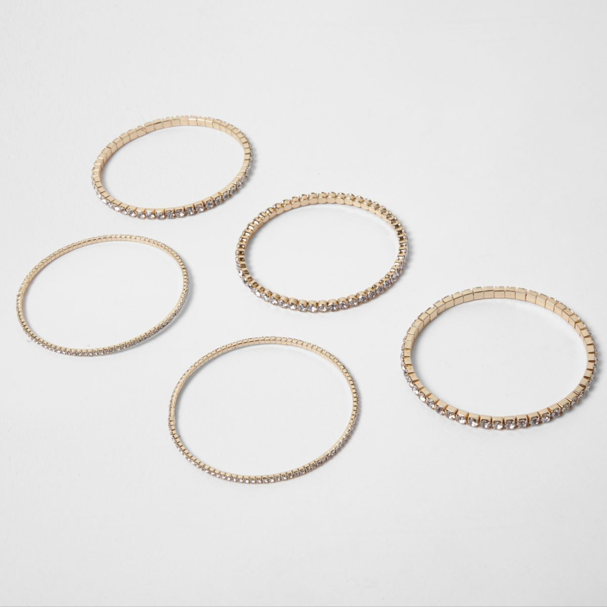 Gold tone diamante encrusted bracelet pack