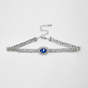 Silver tone cup chain blue jewel choker