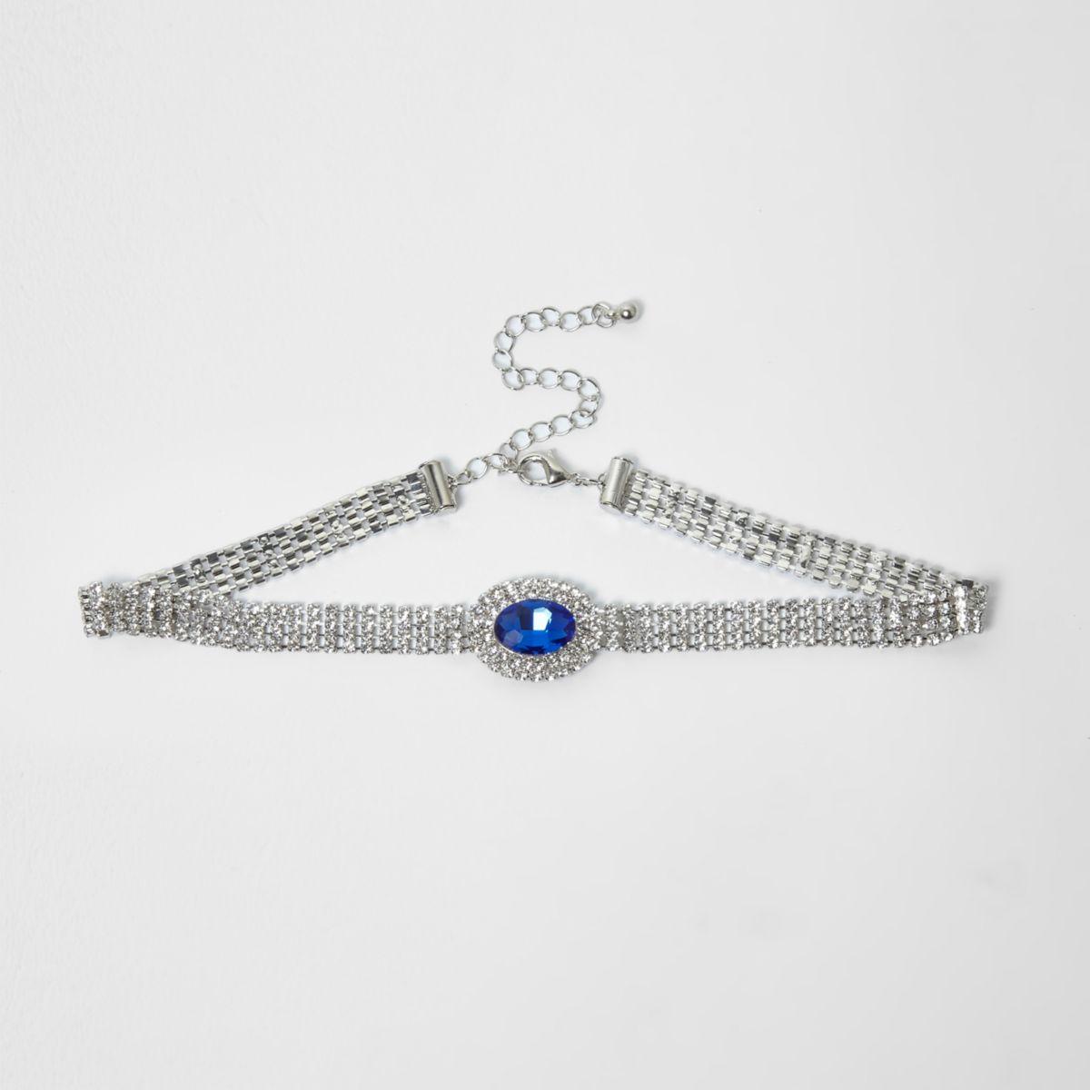 Silver tone cup chain blue jewel choker