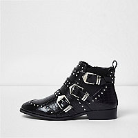 Black wide fit stud multi buckle ankle boots