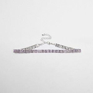 Collier ras-de-cou violet clair à maillons