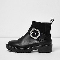 Black diamante buckle chunky cleated boots
