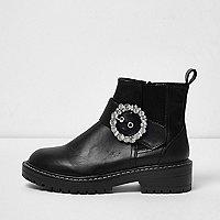 Black rhinestone buckle chunky cleated boots