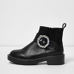 Black rhinestone buckle chunky cleated boots
