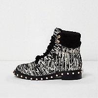 Black boucle pearl stud trim biker boots