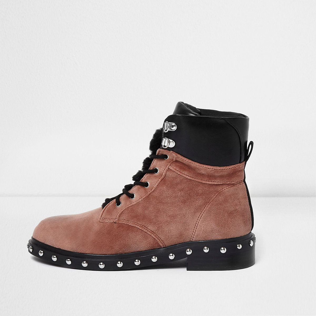 Pink velvet faux fur tongue lace-up boots