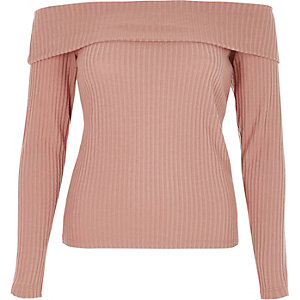 Beige ribbed bardot long sleeve top