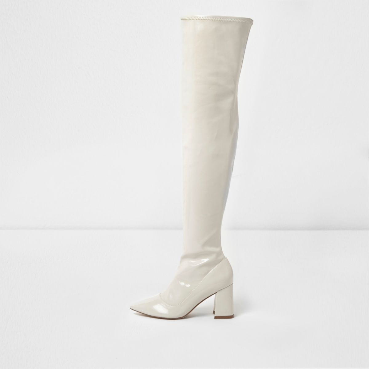 Cream patent over the knee block heel boots