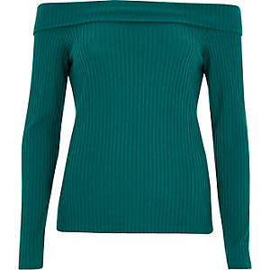 Green ribbed fitted bardot top
