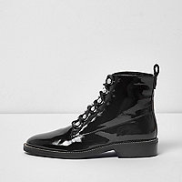 Black patent rhinestone trim lace-up boots
