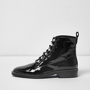 Black patent diamante trim lace-up boots