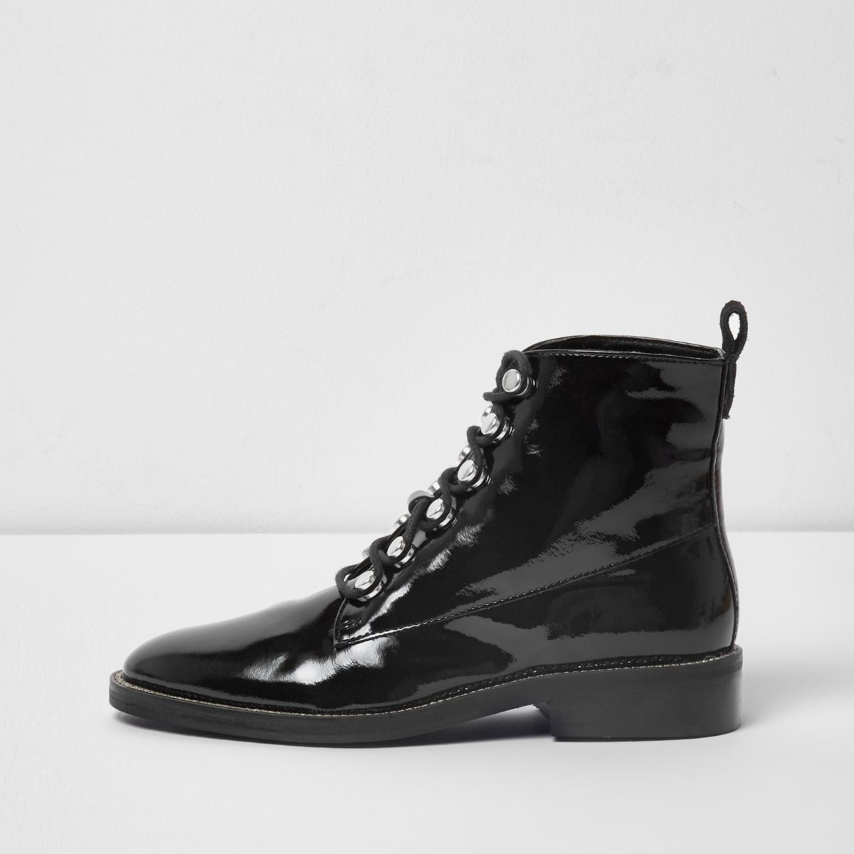 Black patent rhinestone trim lace-up boots