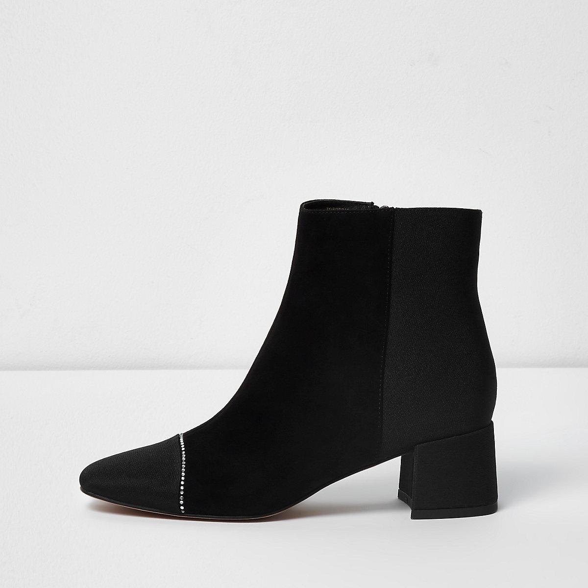 Black wide fit faux suede toe cap trim boots