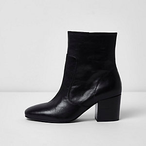 Black wide fit leather block heel ankle boots