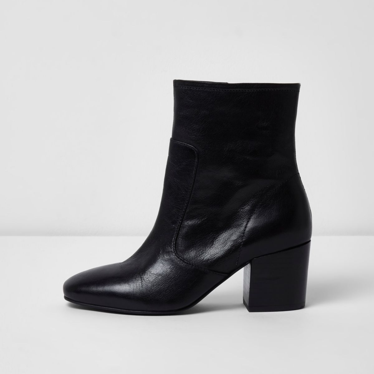 black wide fit leather block heel ankle boots winter