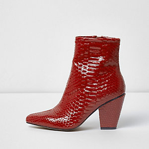 Red snake pointed cone heel boots