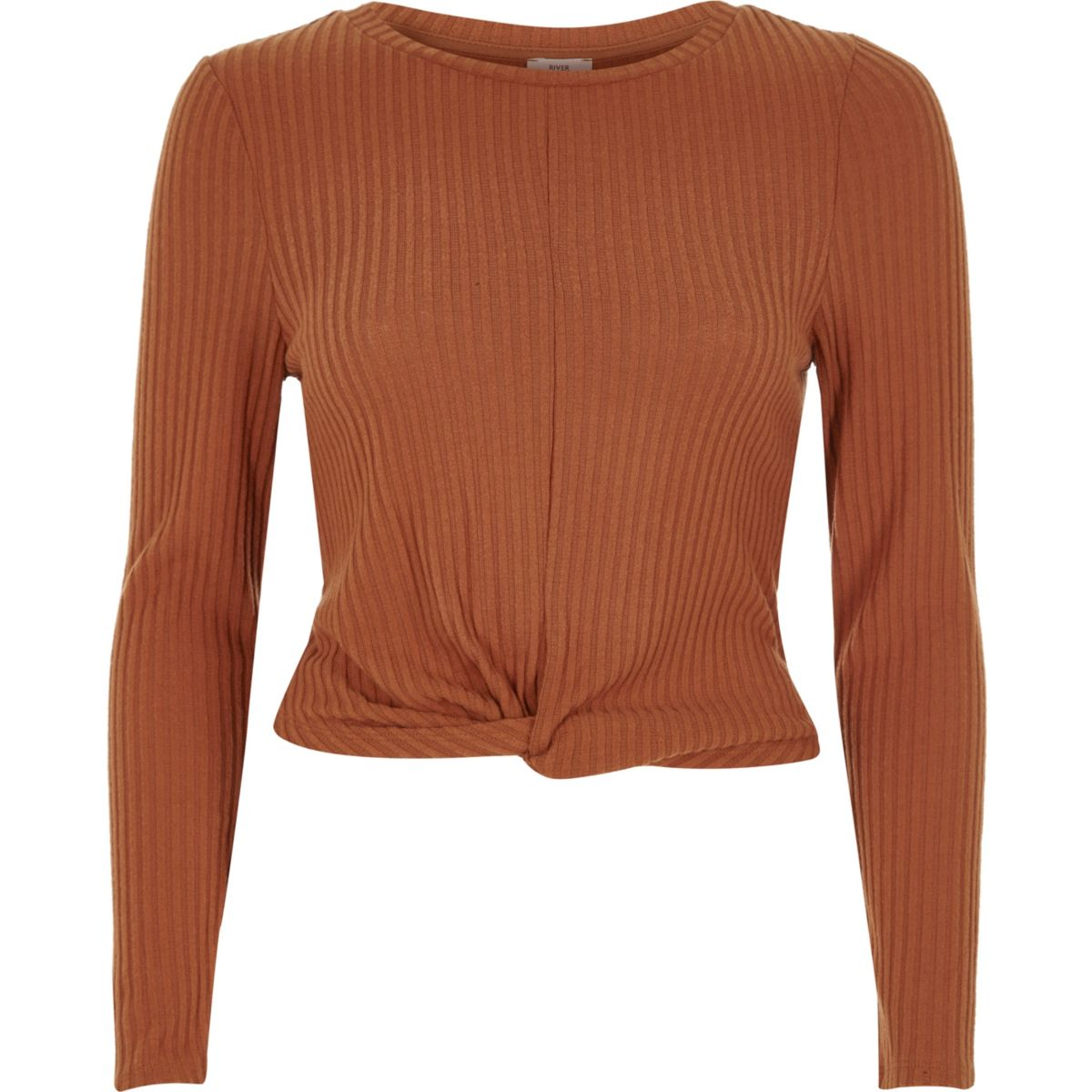 Tan brown ribbed twist front long sleeve top
