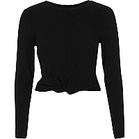 Black ribbed twist front long sleeve crop top