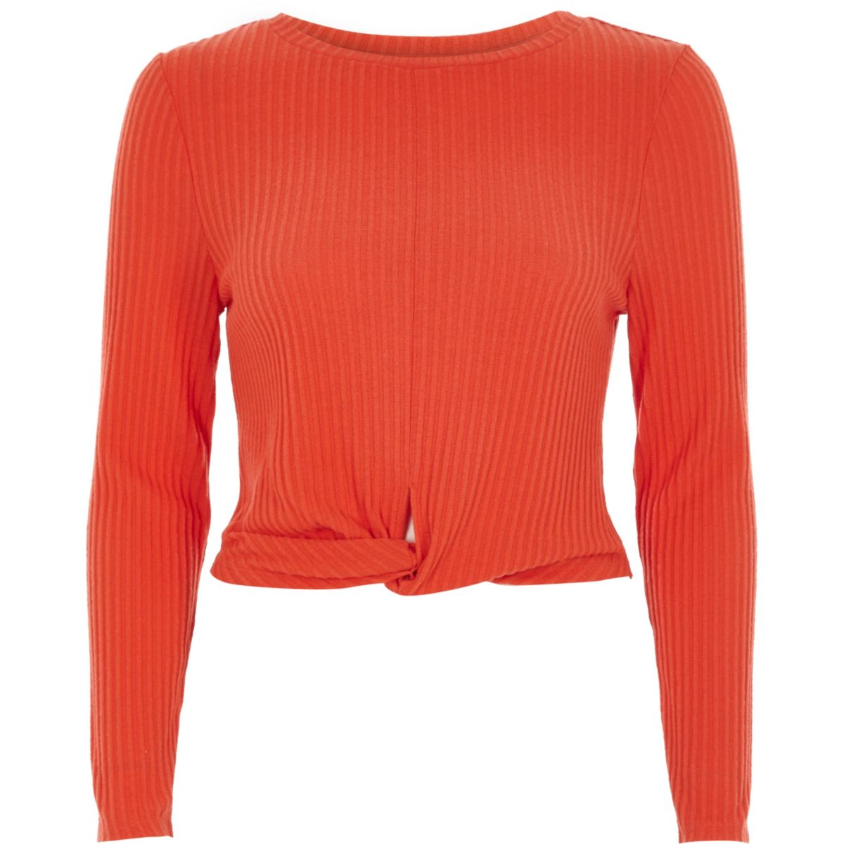 Red twist front long sleeve ribbed top