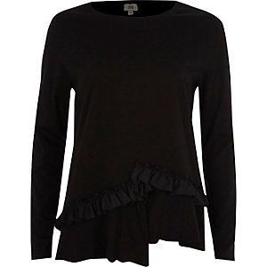 T-shirt asymétrique noir à manches longues et volants