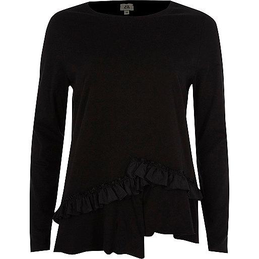 Zwart asymmetrisch T-shirt met lange mouwen en ruches
