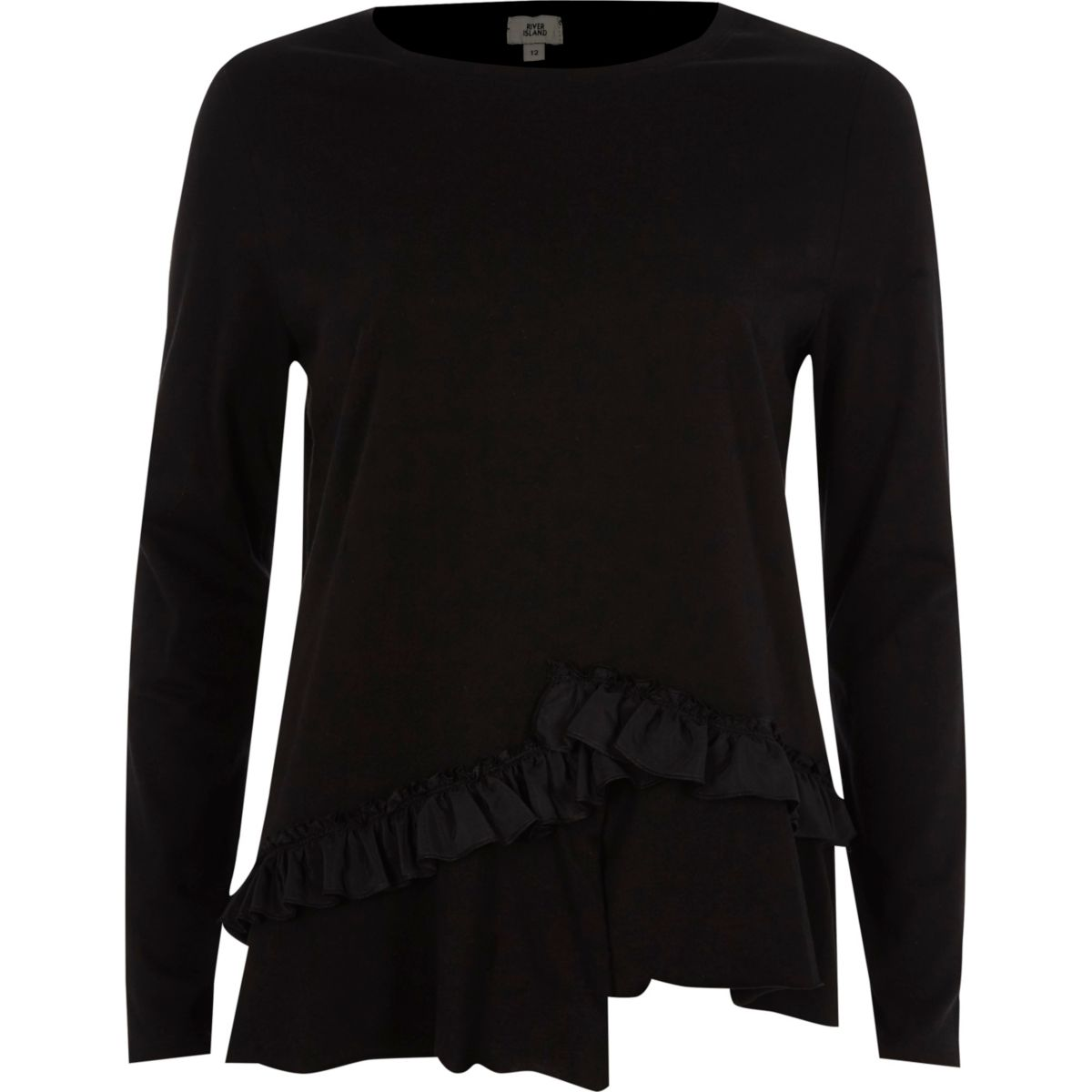 Black asymmetric frill long sleeve T-shirt