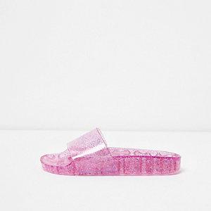 Nu-pieds en plastique rose à paillettes