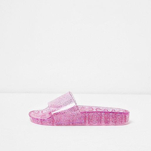 Pink glitter jelly sliders