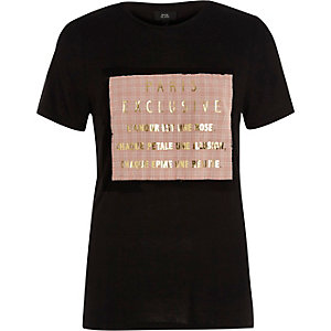 Black 'Paris exclusive' foil print T-shirt