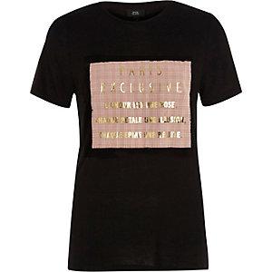 Black 'Paris exclusive' foil print T-shirt