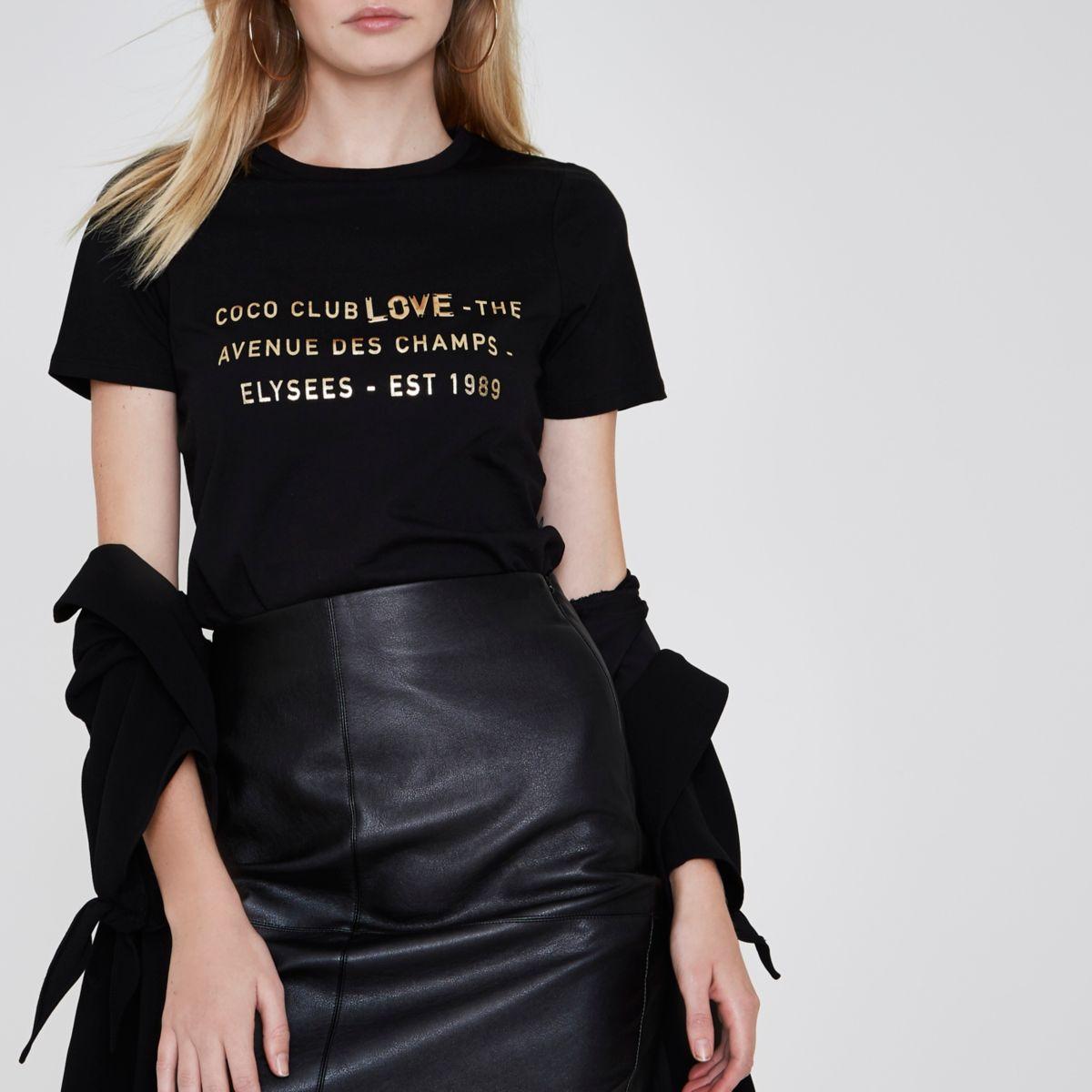 Zwart T-shirt met 'coco club love'-folieprint