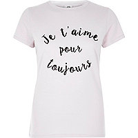 Beige 'je t'aime' fitted short sleeve T-shirt