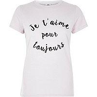 T-shirt ajusté «je t'aime» beige à manches courtes