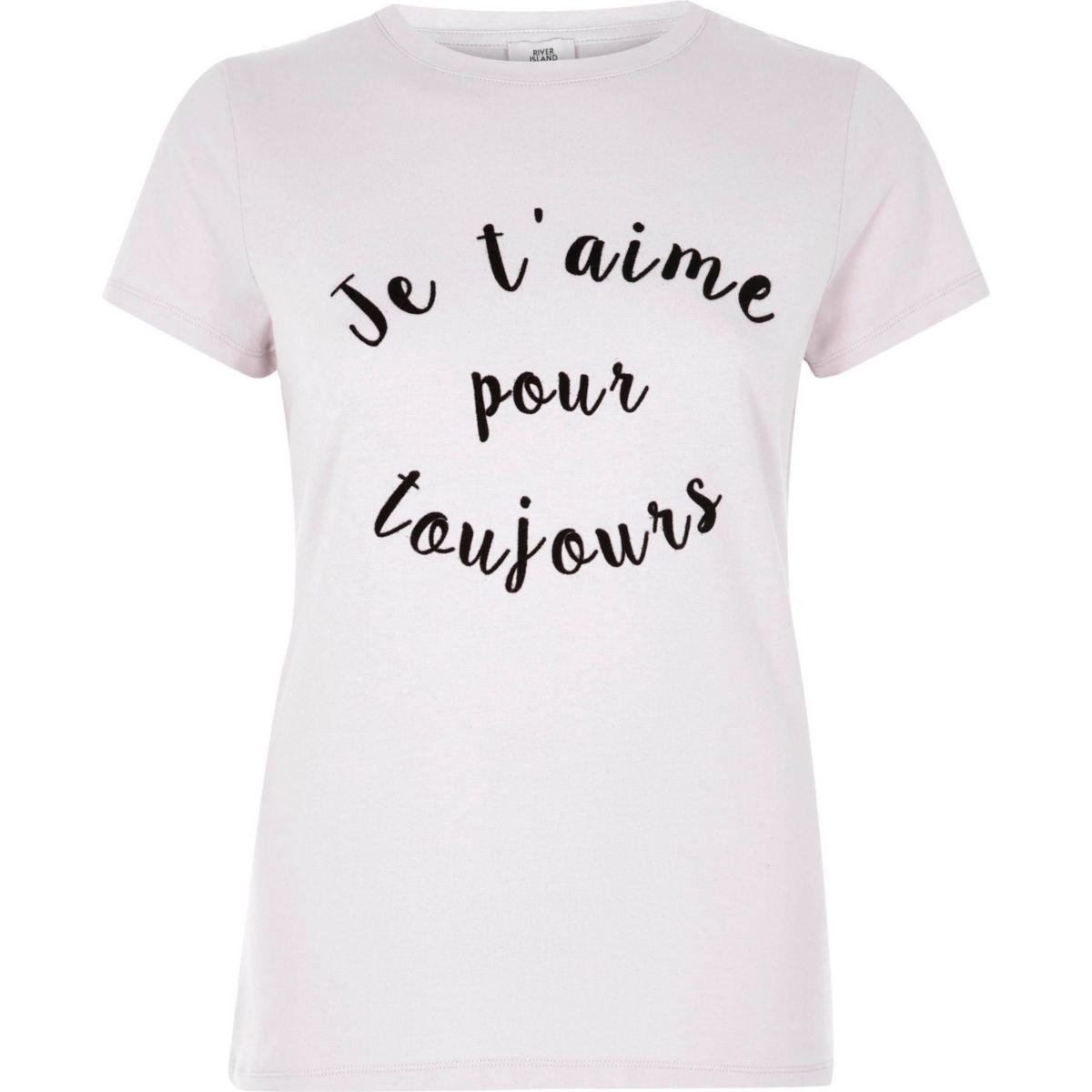Beige aansluitend T-shirt met 'Je t'aime'-print en korte mouwen