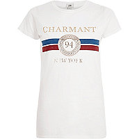 T-shirt ajusté blanc à imprimé métallisé «charmant»