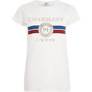 White 'charmont' foil print fitted T-shirt