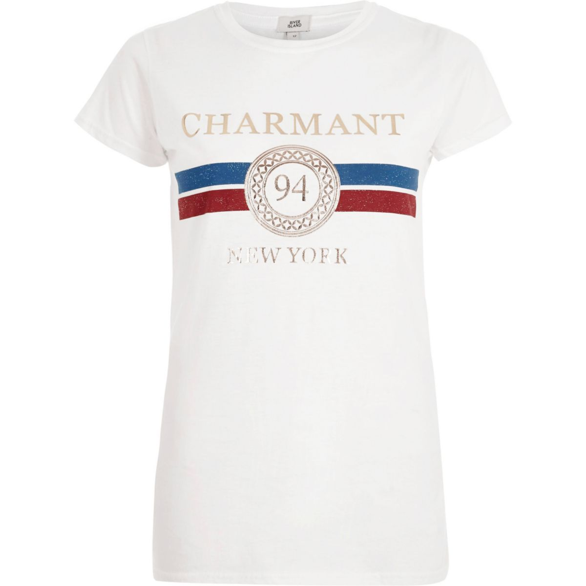 White 'charmant' foil print fitted T-shirt