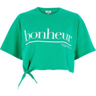 Groen cropped T-shirt met knoop voor en bonheur'-print