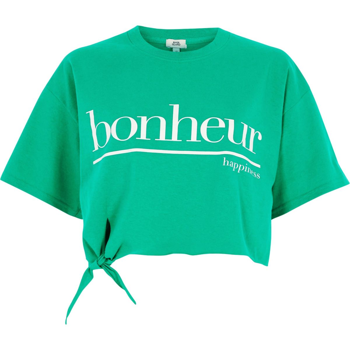 Green 'bonheur' cropped knot front T-shirt