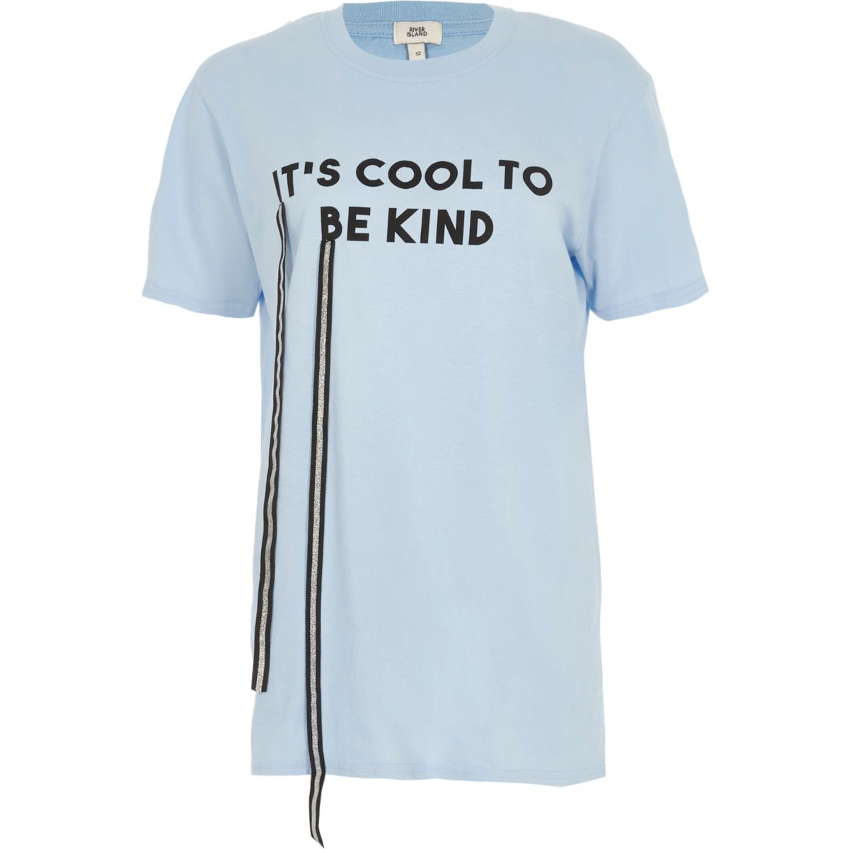 Blue 'it's cool to be kind' print T-shirt