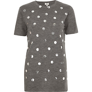 Grey polka dot foil print T-shirt