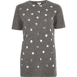 T-shirt imprimé à pois gris métallisé