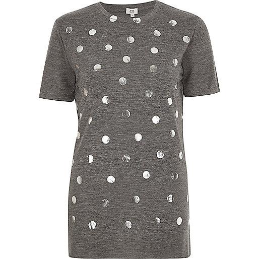 Grey polka dot foil print T-shirt