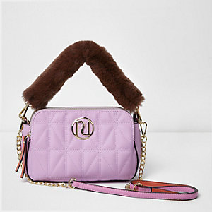 Pink quilted faux fur strap cross body bag