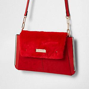 Red faux fur flap envelope clutch bag