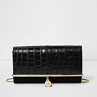 Black croc embossed bar top clutch bag